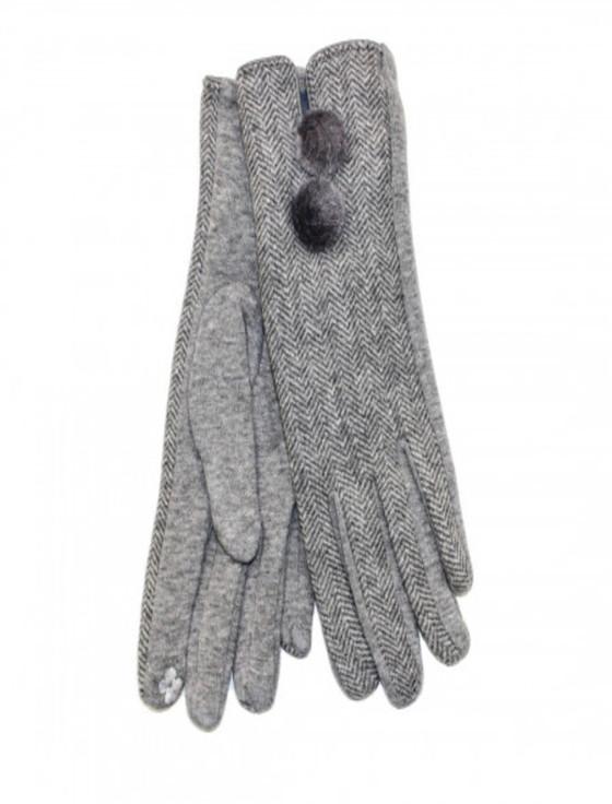 Ladies Double Pom Pom Gloves - Light Grey Herringbone