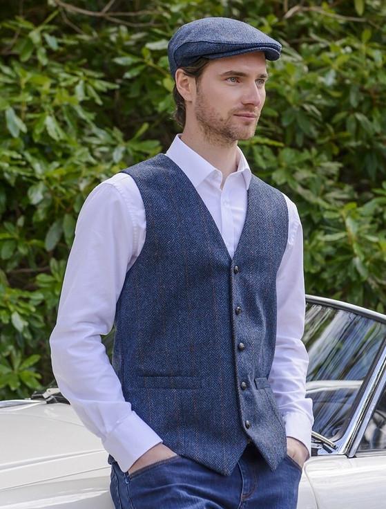 Irish Tweed Herringbone Waistcoat - Denim & Rust Check