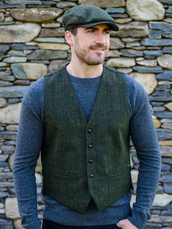 Irish Tweed Herringbone Waistcoat - Forest Green