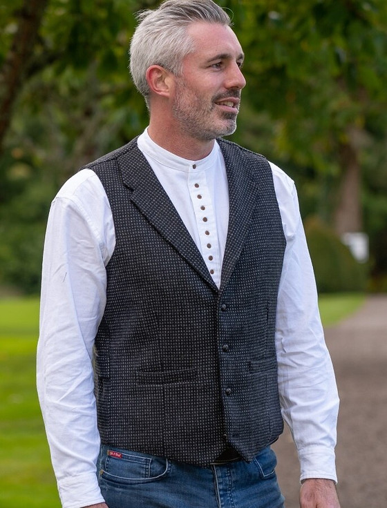 Black and Grey Night Check Tweed Waistcoat With Lapel