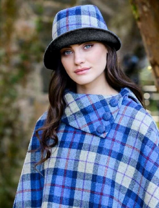 Ladies Tweed Clodagh Cap - Blue Cream Plaid