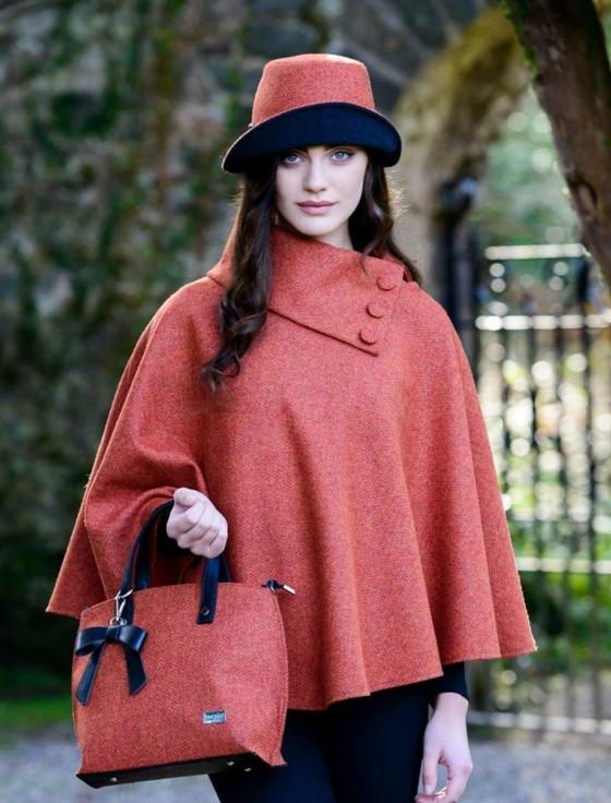 Ladies Tweed Clodagh Cap - Rust