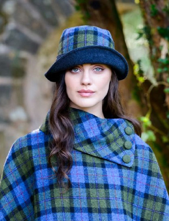 Ladies Tweed Clodagh Cap - Blue Green Plaid