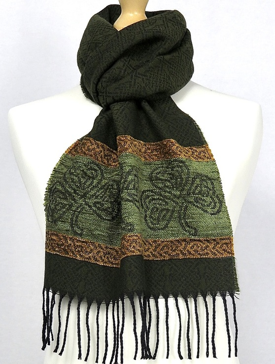 Celtic Border Pattern Scarf -Shamrock Olive