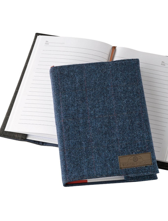 Weavers Of Ireland Notebook - Tweed Blue Box Check Cover