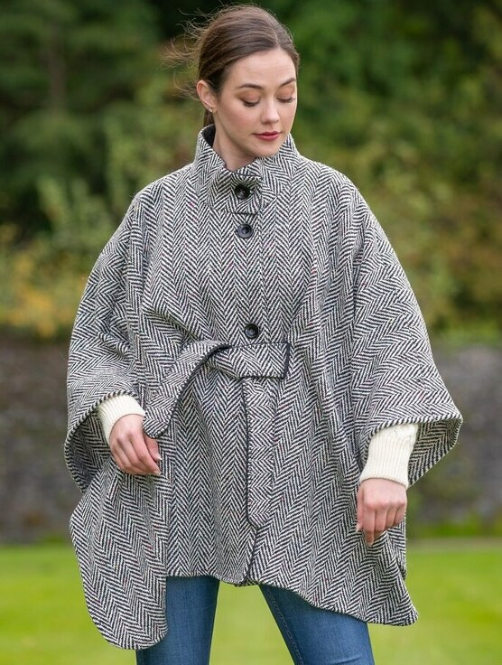 Belted Black & White Tweed Herringbone Cape