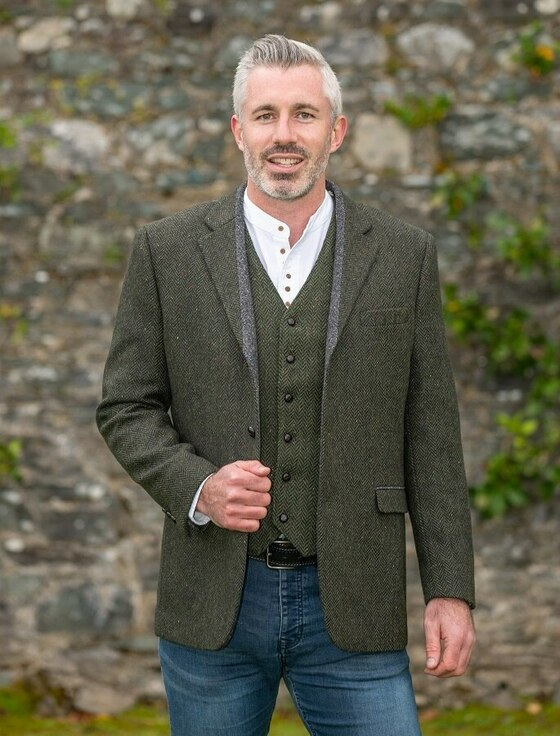 Casement Green Classic Fit Tweed Jacket