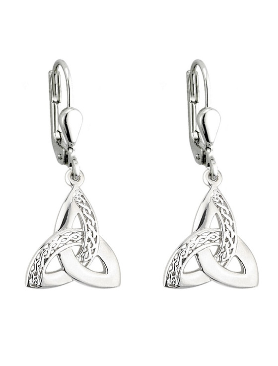 Sterling Silver Celtic Trinity Knot Drop Earrings