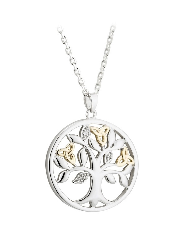 Diamond Tree Of Life Pendant 10k Gold & Sterling Silver