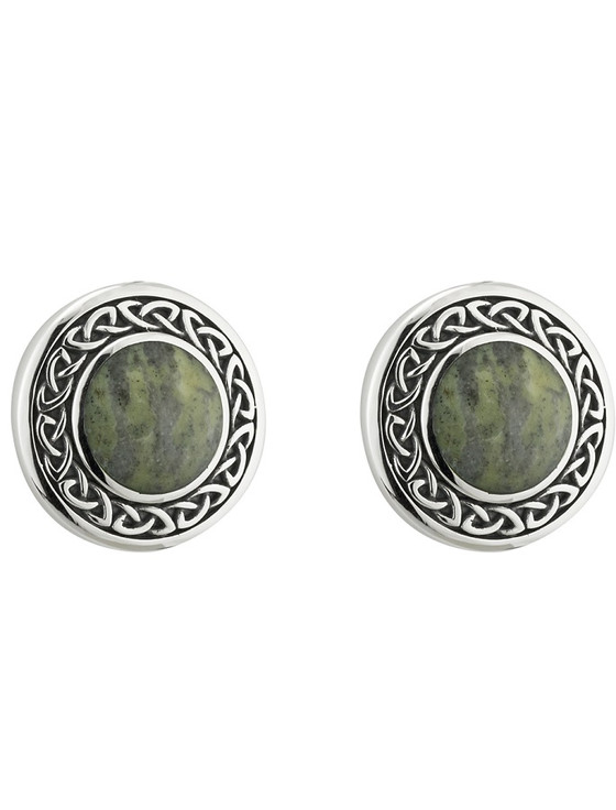 Celtic Connemara Marble Round Stud Earrings