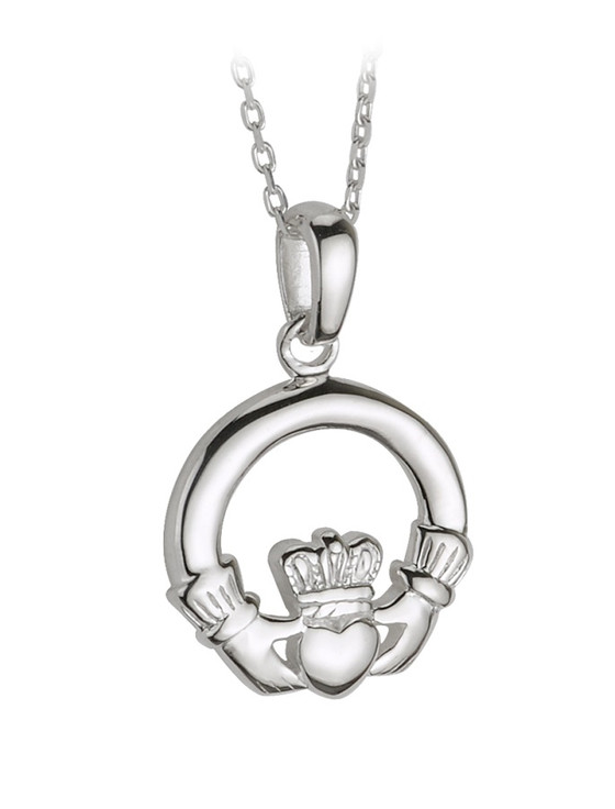 Sterling Silver Small Heavy Claddagh Pendant