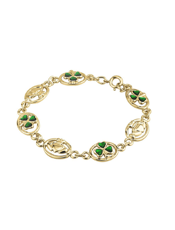 GOLD PLATED ENAMEL SHAMROCK & CLADDAGH BRACELET