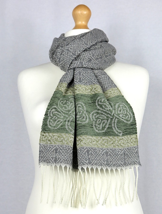 Celtic Border Pattern Scarf -Shamrock Silver