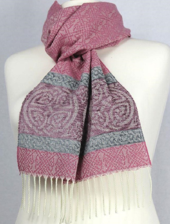 Celtic Border Pattern Scarf - Ice Pink