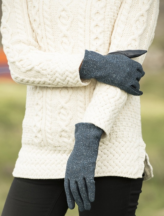 Ladies Kerry Tweed & Leather Gloves - Midnight Blue