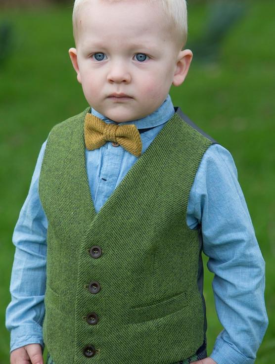 Boy's Irish Tweed Palm Green Herringbone Waistcoat
