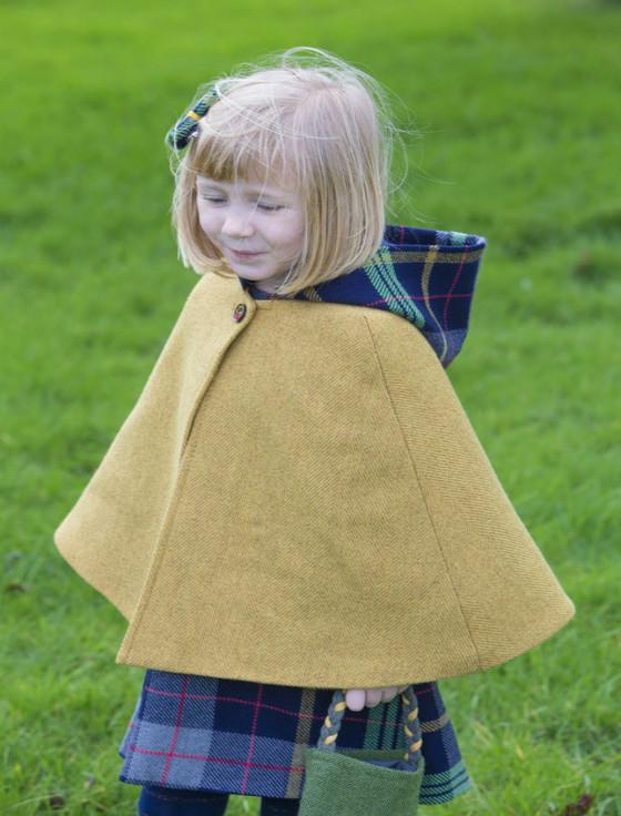 Girls Irish Tweed Mustard and Navy Plaid Cape