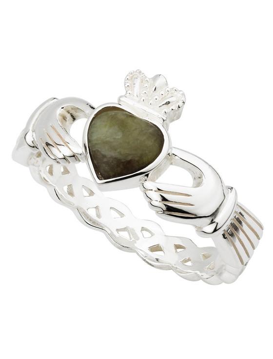 Silver Connemara Marble Claddagh Weave Ring