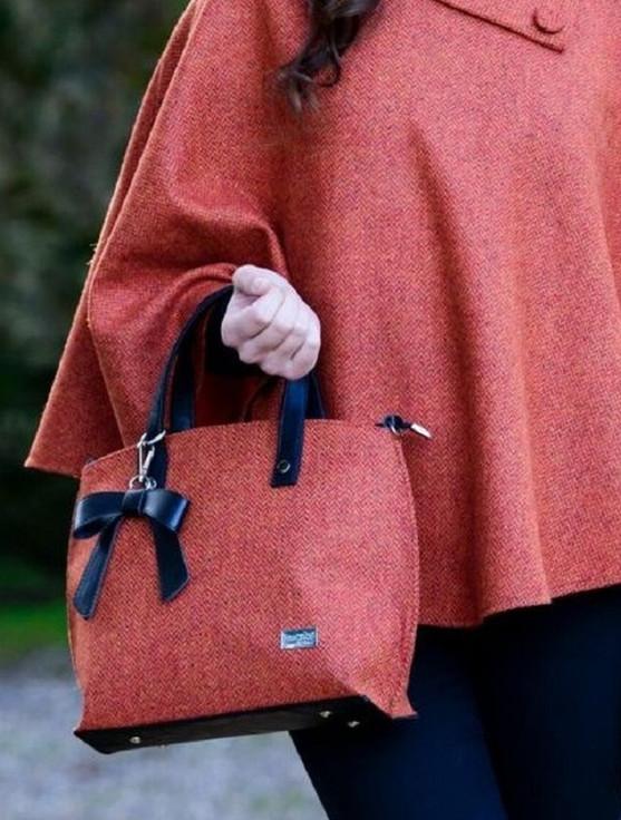 Niamh Tweed & Leather Bag - Rust Herringbone