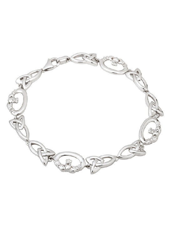 Silver Claddagh & Trinity Knot Bracelet