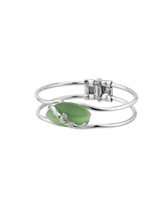 Rhodium Plated Claddagh Green Cat Eye Bangle