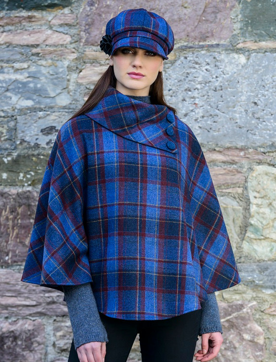 Mucros Poncho - Navy Plaid Checked