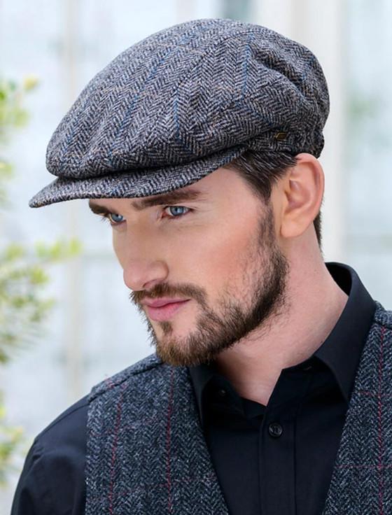 Kerry Tweed Flat Cap - Grey with Tan