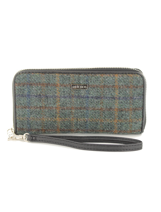 Mucros Tweed Purse - Teal & Brown Plaid