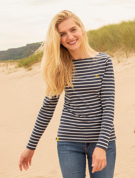 Causeway Long Sleeved T-Shirt - Midnight Stripe