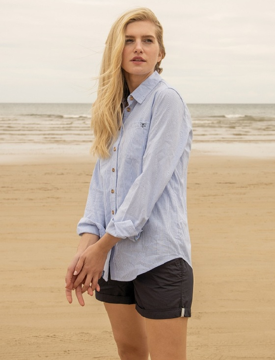 Ocean Ladies Cotton Shirt - Oxford Stripe