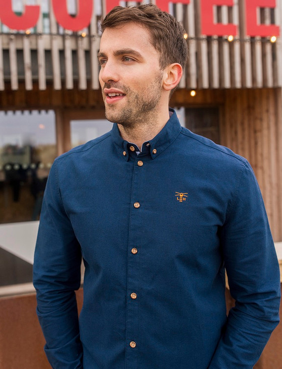 Tide Men's Cotton Shirt - Navy Oxford
