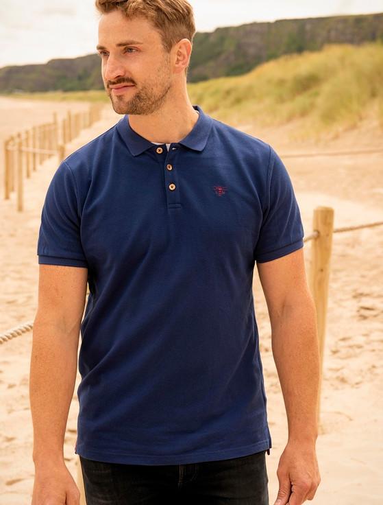 Pier Cotton Short Sleeve Polo Shirt - Indigo
