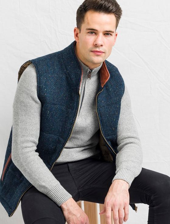 Men's Tweed Body Warmer - Blue Herringbone