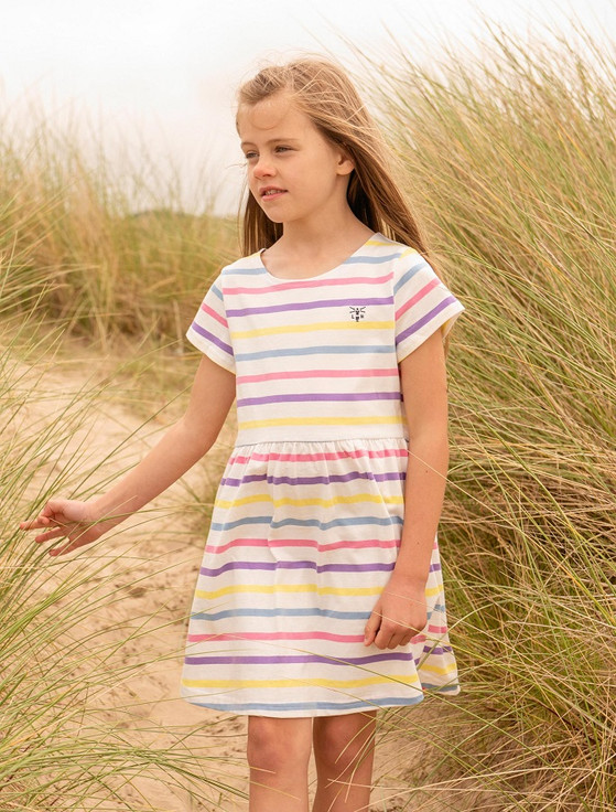 Ellie Girls Short Sleeve Dress - Multi-Stripe