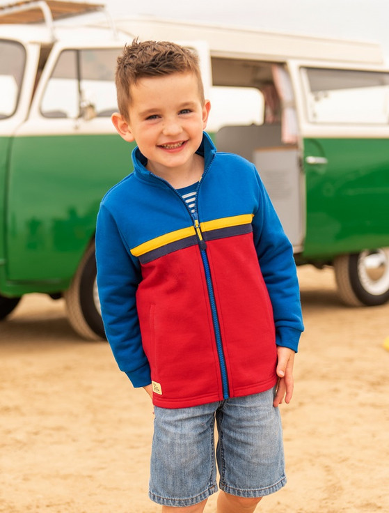 Zach Boys Zip-Up Sweater - Ocean Blue