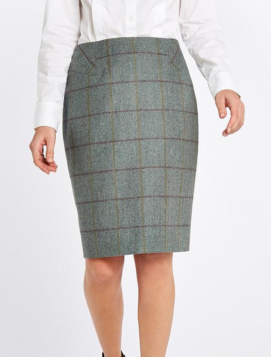 Fern Ladies Fitted Tweed Knee Length Skirt - Sorrel