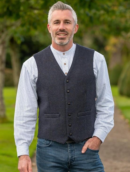 Ryan Tweed Herringbone Wool Waistcoat - Navy