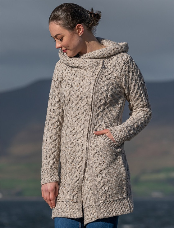 Claddagh Heart Design Side Zip Coatigan - Oatmeal