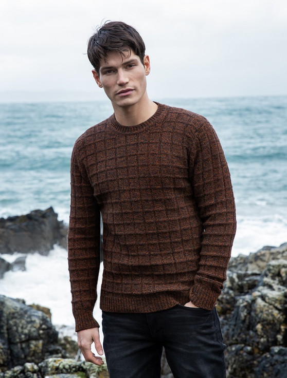 Brick Stitch Wool Cashmere Sweater - Rust