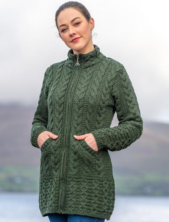 Ladies Merino Cable Design Zip Coatigan - Army Green