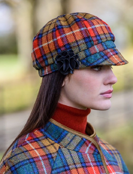 Ladies Tweed Newsboy Hat - Summer Plaid