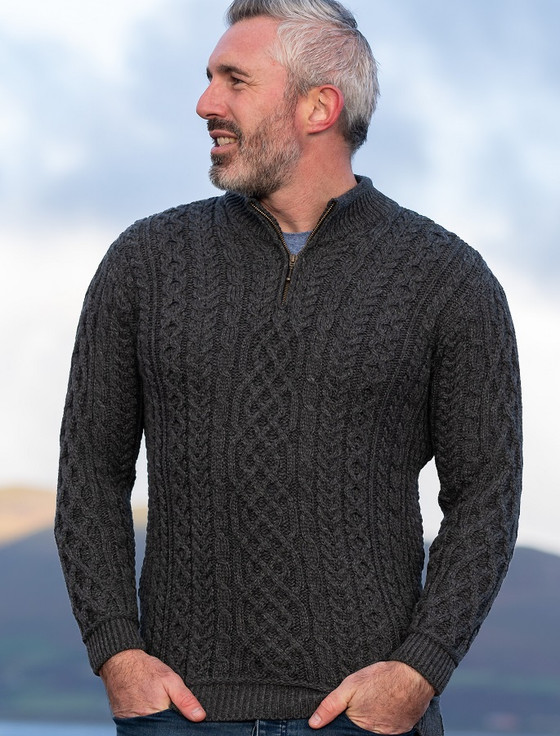 Mens Super Soft Half Zip Aran Troyer - Slate Grey