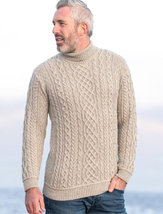 Super Soft Mens Wool Turtleneck Sweater - Toasted Oat