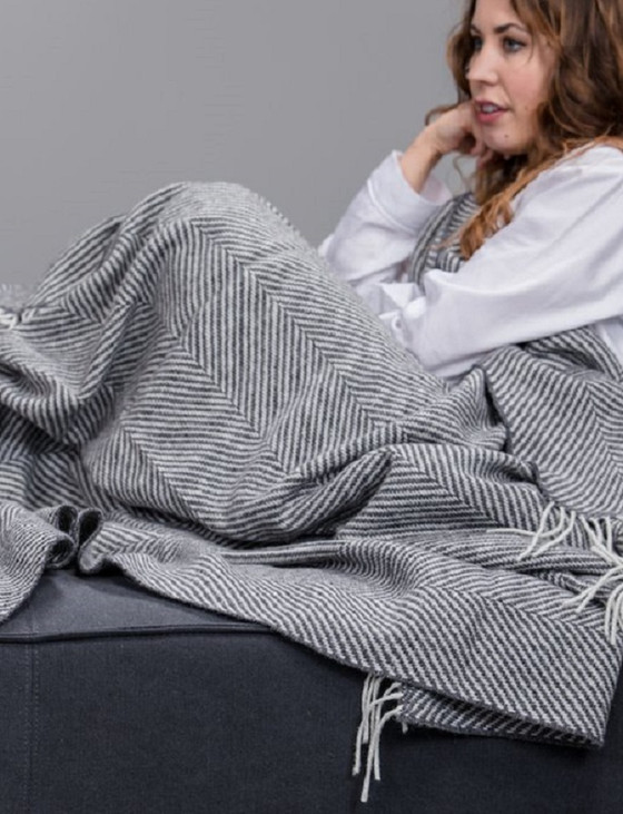 Merino Wool Throw - Grey Herringbone