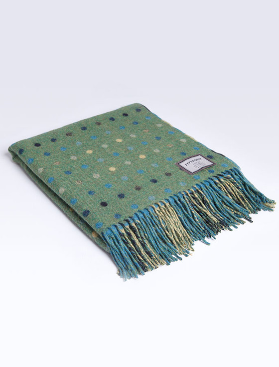 Lambswool Throw - Green Multi Color Spot