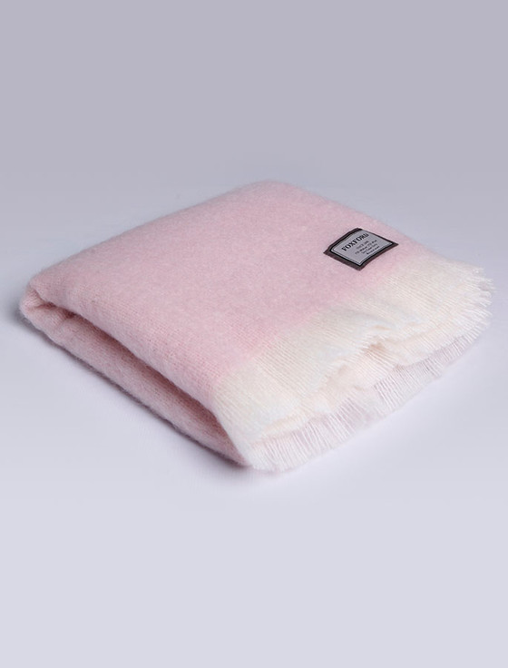 Mohair Throw - Pink White