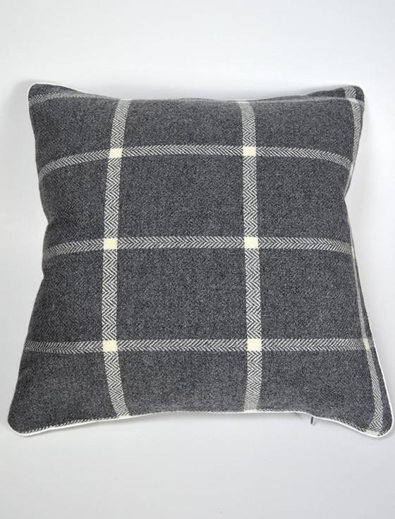 Lambswool Cushion - Oxford Windowpane