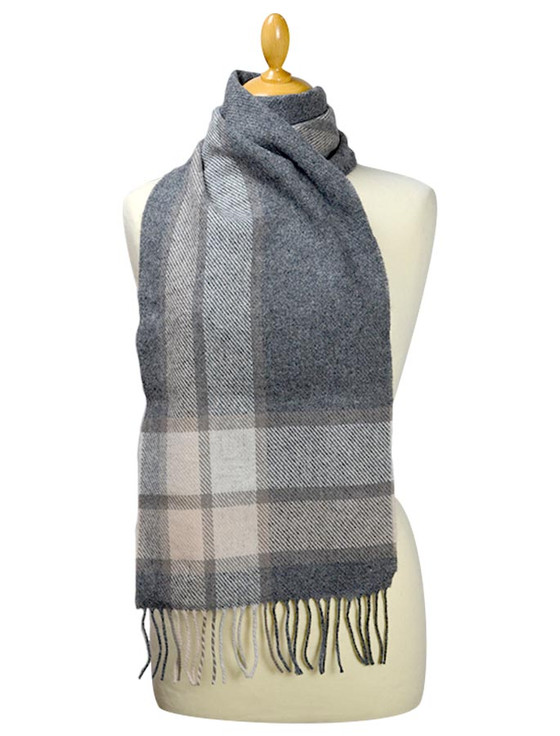 Lambswool Scarf - Grey Check Border