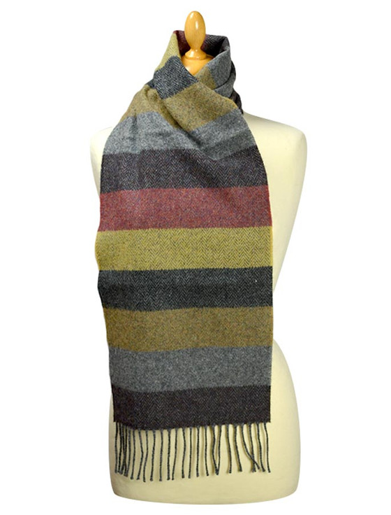 Lambswool Scarf - Fall Thick Stripe