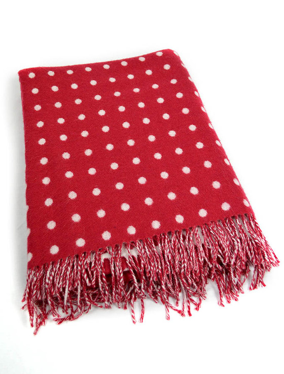 Lambswool Throw - Red Spot
